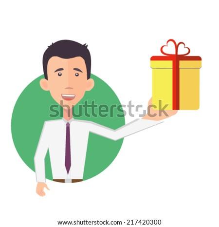 businessman presenting a gift - flat design vector  - stock vector