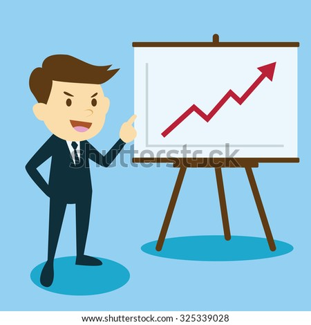 businessman presenting business growth chart - stock vector