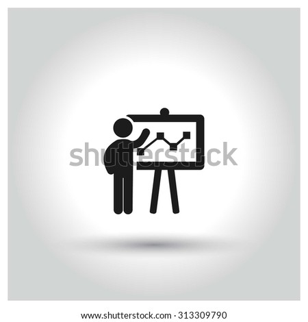 businessman presenting, businessman pointing at a board at a presentation, Black Business Pictogram. vector illustration - stock vector