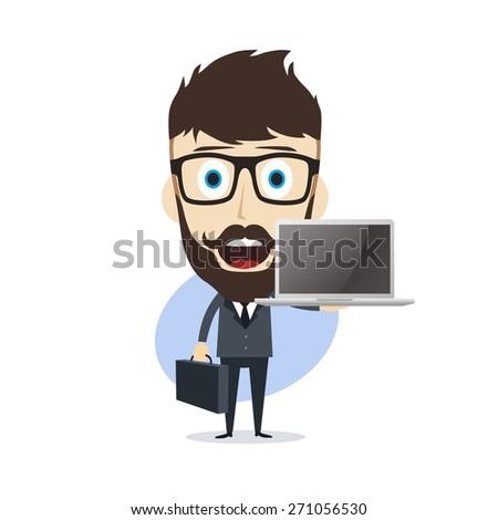 businessman - presenting notebook - stock vector