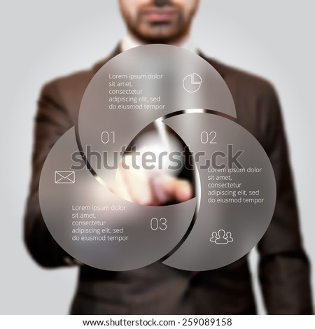 Businessman pressing button on a virtual background. Circle line infographic. Business concept with 3 options, parts, steps or processes. Linear graphic. Blur vector background. - stock vector