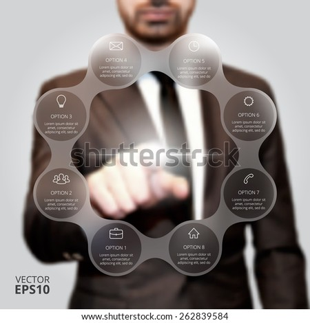 Businessman pressing button on a virtual background. Circle line infographic. Business concept with 8 options, parts, steps or processes. Linear graphic. Blur vector background. - stock vector