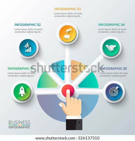 Businessman pressing button on a virtual background. Circle line infographic. Business concept with 5 options, parts, steps or processes. - stock vector