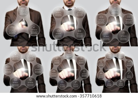 Businessman pressing button on a virtual background. Circle line infographic. Business concept with 3, 4, 5, 6, 7 and 8 options, parts, steps or processes. Linear graphic. Blur vector background. - stock vector