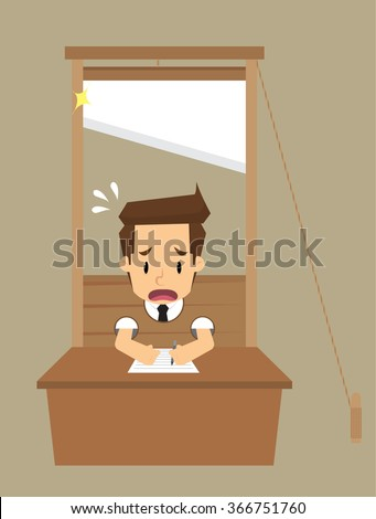 Businessman prisoners guillotine. vector - stock vector