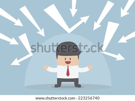Businessman protected from the bad thing by the invisible shield, VECTOR, EPS10 - stock vector