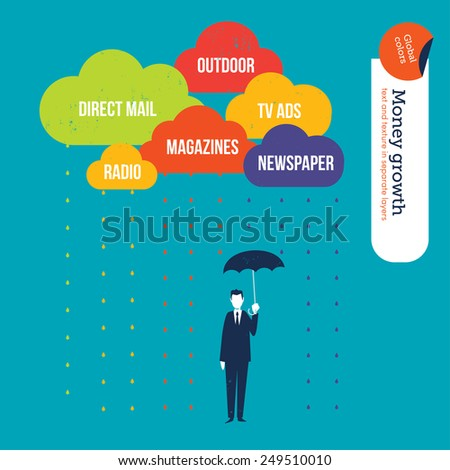 Businessman protecting himself from negative words in clouds with an umbrella. Vector illustration Eps10 file. Global colors. Text and Texture in separate layers. - stock vector