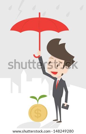 businessman protecting money, vector - stock vector