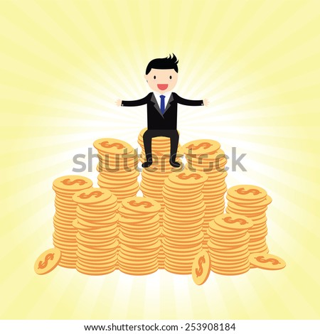 Businessman proudly standing on the huge money. - stock vector