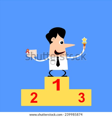 businessman proudly standing on the winning podium holding up winning trophy and showing an award certificate. - stock vector