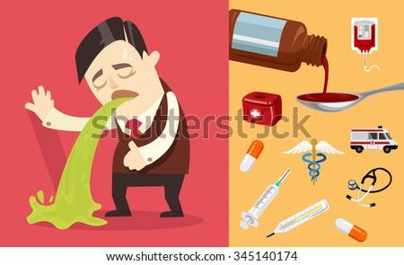 Businessman puke. Vector flat illustration - stock vector