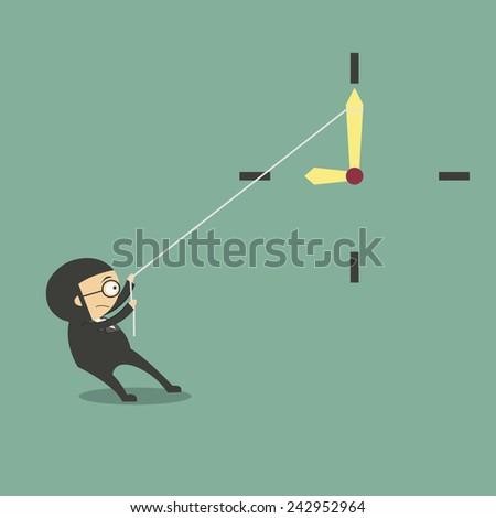 Businessman pulling a clock hand backwards - stock vector