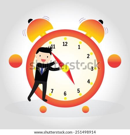 Businessman pulling a clock hand forward at 5 pm o' clock - stock vector