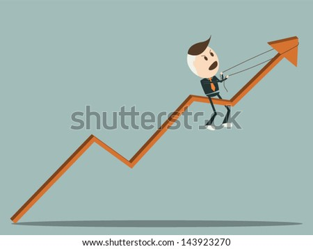 Businessman pulling up a graph, vector format