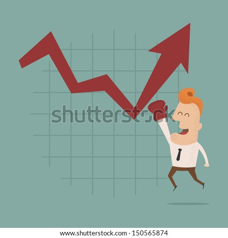 Businessman punch growing graph , eps10 vector format - stock vector
