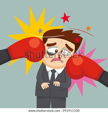 Businessman punching by two boxing gloves,  vector  illustration - stock vector