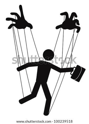 businessman puppet - stock vector