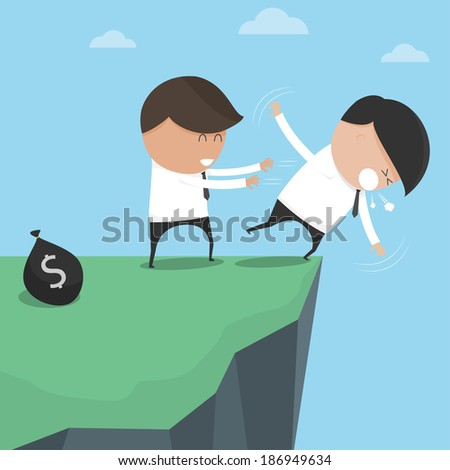 Businessman pushes his friend fall abyss. vector illustration