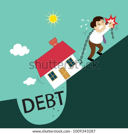 Businessman pushing chain with house from debt burden, illustration vector cartoon