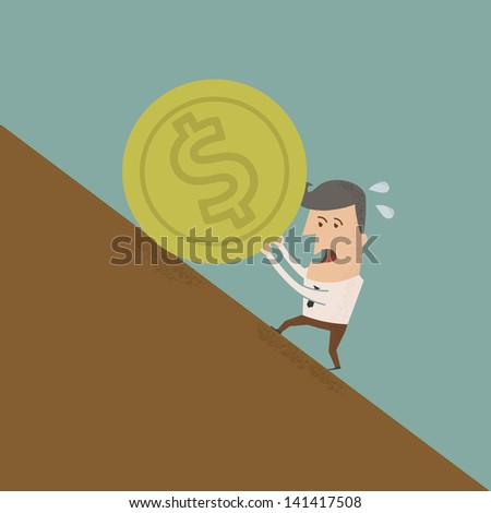 Businessman pushing coin , eps10 vector format - stock vector