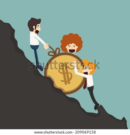 Businessman pushing coin, eps10 vector format - stock vector