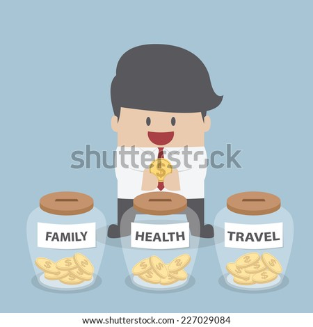 Businessman putting coin into Family, Health, Travel bottle, Financial concept, VECTOR, EPS10 - stock vector