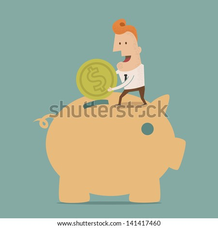 Businessman putting coin into piggy bank , Vector EPS10 - stock vector