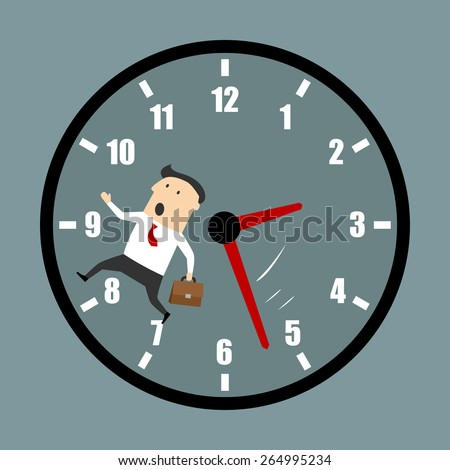 Businessman racing against the clock as he rushes to a meeting or to finish a project before an urgent deadline - stock vector