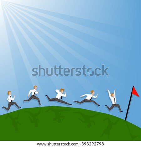 Businessman racing for leadership business competition (Leadership business concept cartoon illustration) - stock vector