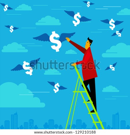 businessman reach the money - stock vector