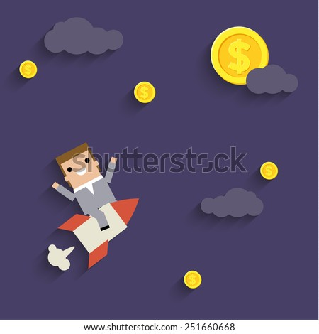 Businessman reaches the goal. Concept of success and  wealth - stock vector