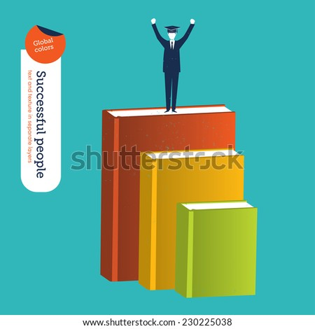 Businessman reaching his goals through study and books. Vector illustration Eps10 file. Global colors. Text and Texture in separate layers. - stock vector