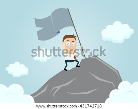 businessman reaching the top of the mountain - stock vector