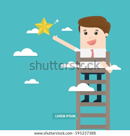 Businessman reaching to the star, metaphor to reaching to goal or be successful. Business concept a ladder corporate of success.