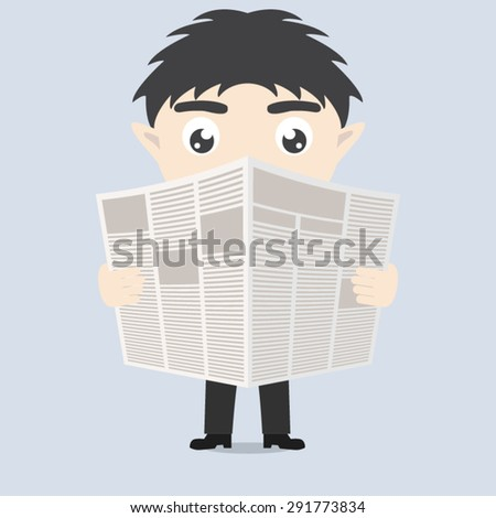 businessman reading a newspaper - stock vector