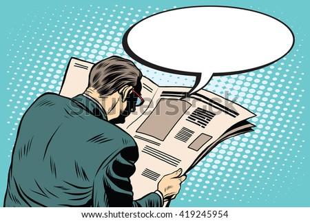 Businessman reading a newspaper - stock vector