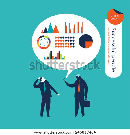 Businessman reading a statistics message on his phone. Vector illustration Eps10 file. Global colors. Text and Texture in separate layers. - stock vector
