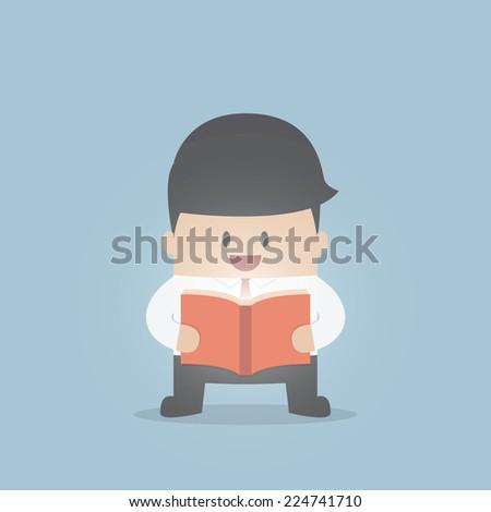 Businessman reading the shining book, VECTOR, EPS10 - stock vector