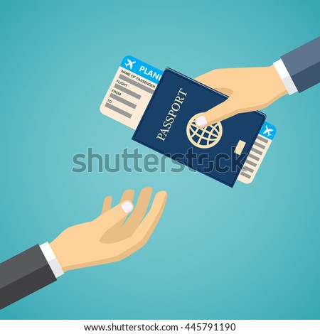 Businessman Receiving Boarding Pass and Passport from check-in Attendant. - stock vector