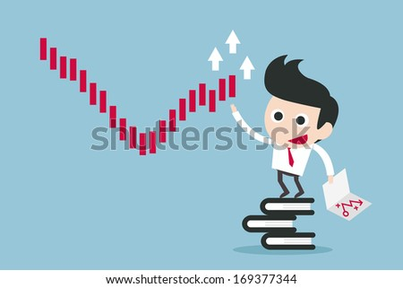businessman recovery crisis chart - stock vector