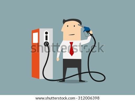 Businessman refueling his brain from a pump marked with an icon for information and knowledge, or price of gasoline - stock vector