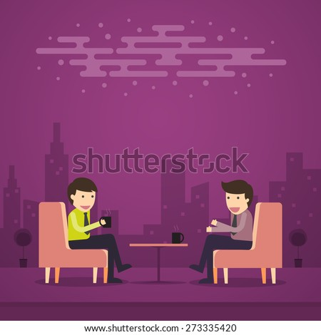Businessman Relax at the Coffee Shop With Business Partners - stock vector
