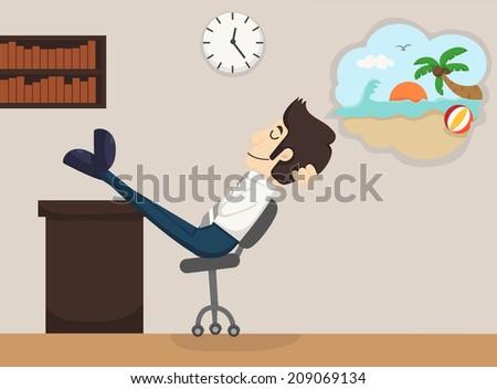 Businessman relaxing, dreaming, eps10 vector format - stock vector