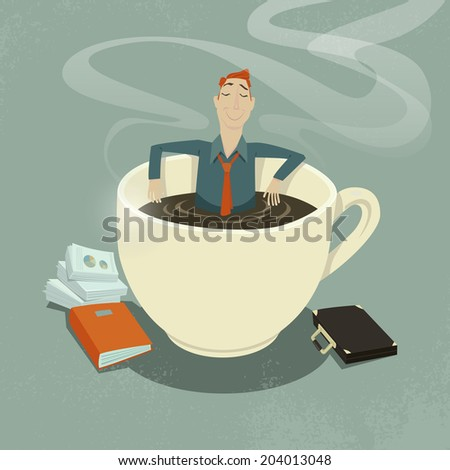 Businessman relaxing in coffee cup. - stock vector