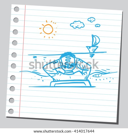Businessman resting on beach - stock vector