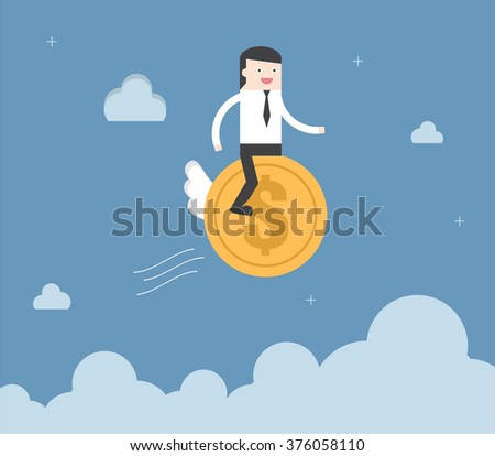 Businessman ride coin financial freedom. Flat design for business financial marketing banking advertising event concept cartoon illustration. - stock vector