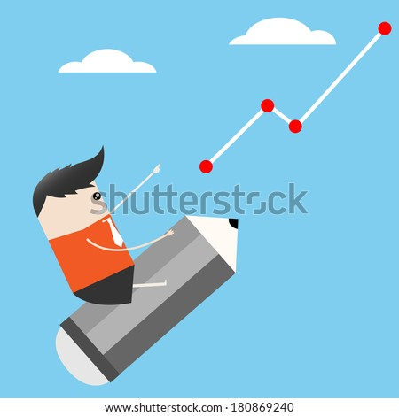Businessman Ride pencil stock up cartoon, Vector illustration - stock vector