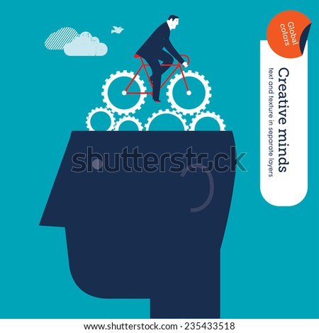 Businessman riding a bike with gears on head. Vector illustration Eps10 file. Global colors. Text and Texture in separate layers. - stock vector