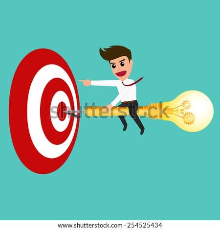 Businessman riding a dart lightbulb to target , vector Illustration - stock vector