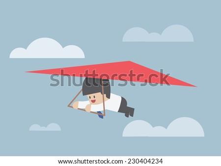 Businessman riding a hang glider, VECTOR, EPS10 - stock vector